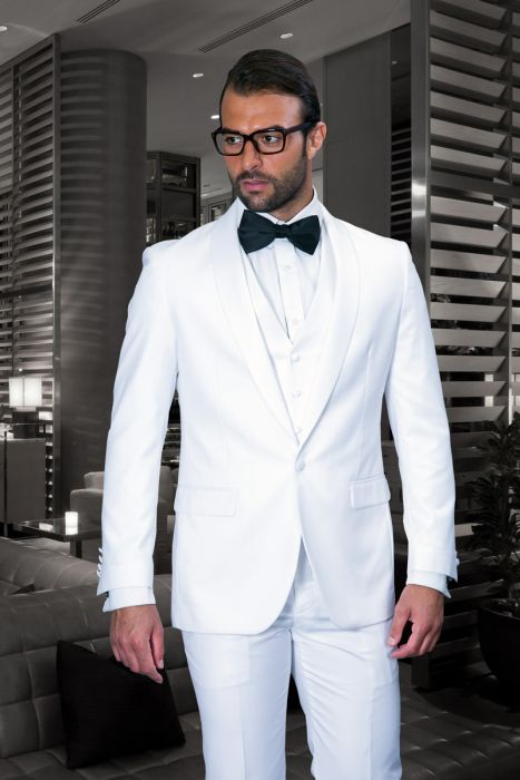 Statement Men's Black Tuxedo with White Lapel