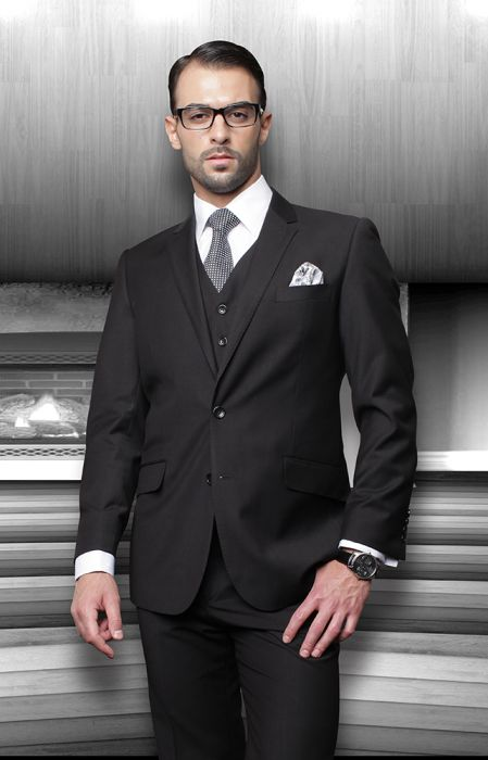 Statement Men's Black 100% Wool Vested Suit