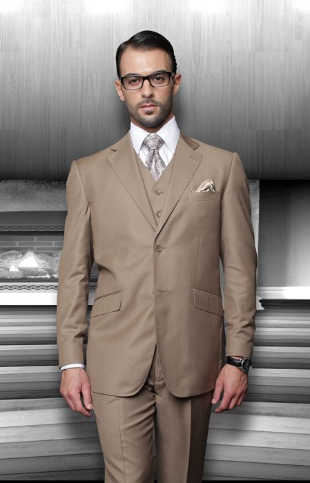 Statement Men's Bronze 100% Wool Vested Suit