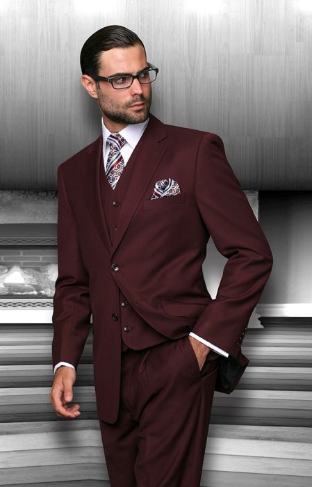 Statement Men's Burgundy 100% Wool Vested Suit