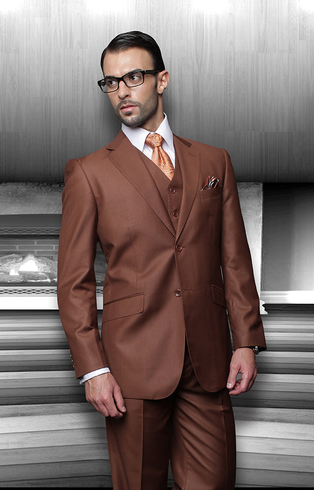 Statement Men's Copper Vested 100% Wool Modern Fit Suit