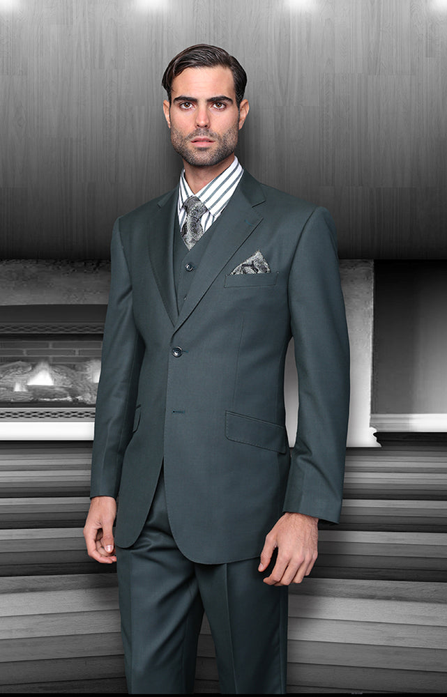 Statement Men's Hunter Vested 100% Wool Modern Fit Suit