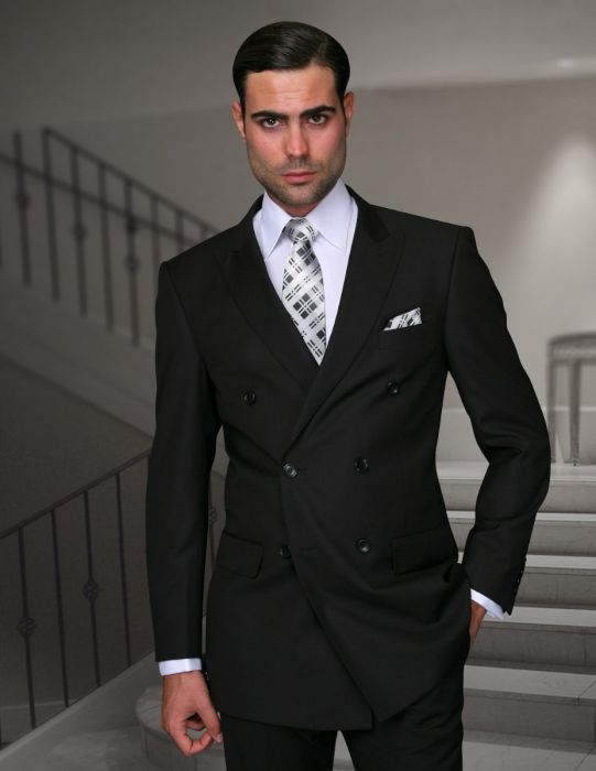 Statement Men's Black Vested Double Breasted 100% Wool Suit