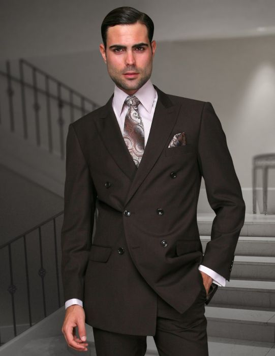Statement Men's Brown Vested Double Breasted 100% Wool Suit