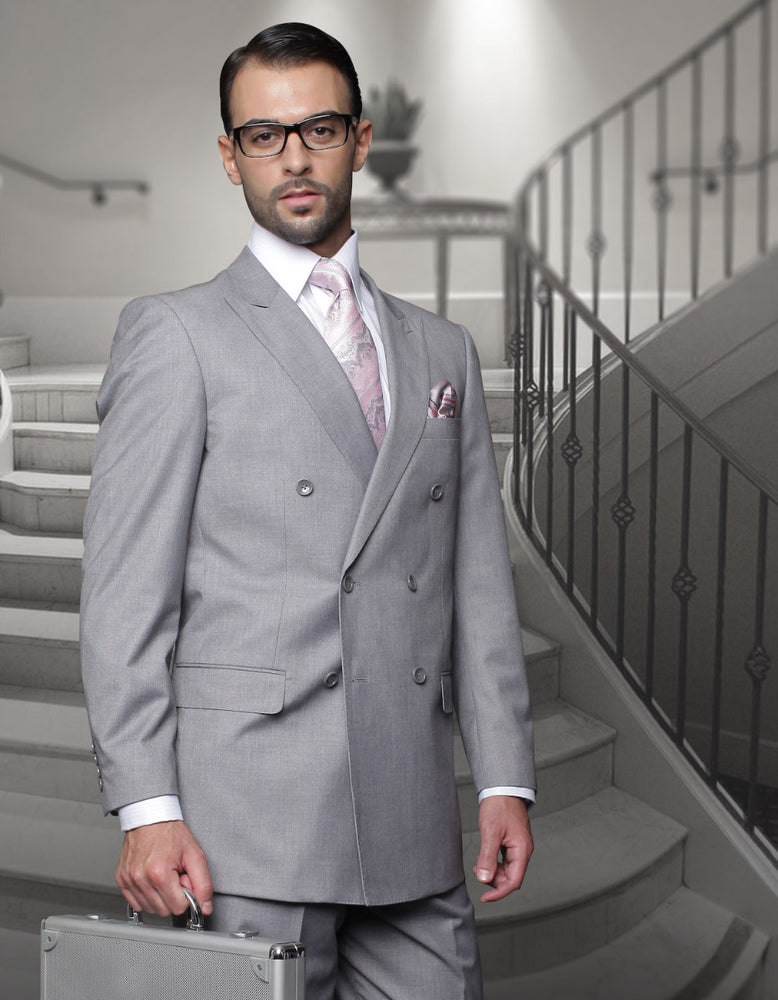 Statement Men's Grey Vested Double Breasted 100% Wool Suit