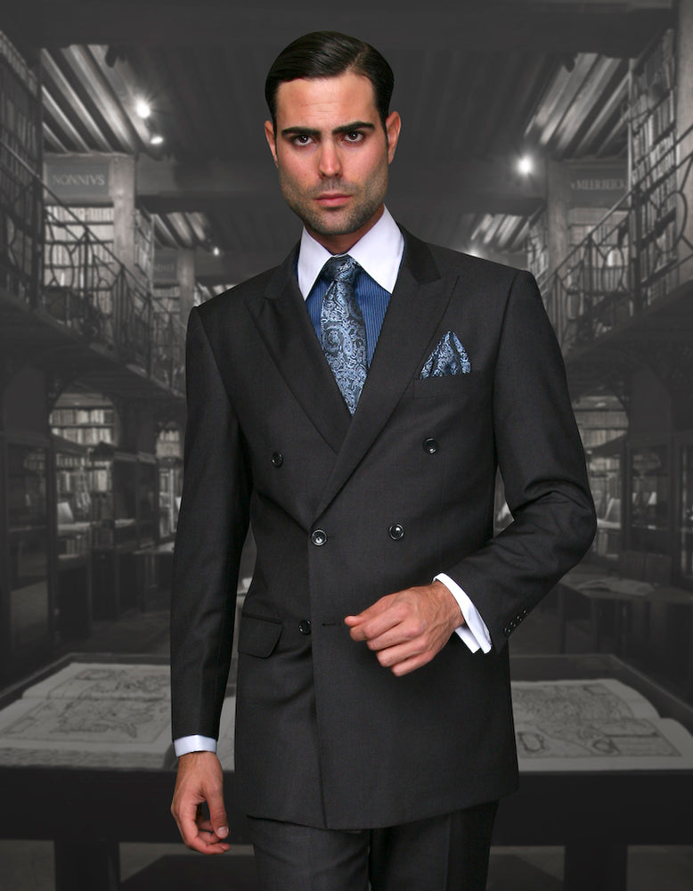 Statement Men's Heather Grey Vested Double Breasted 100% Wool Suit