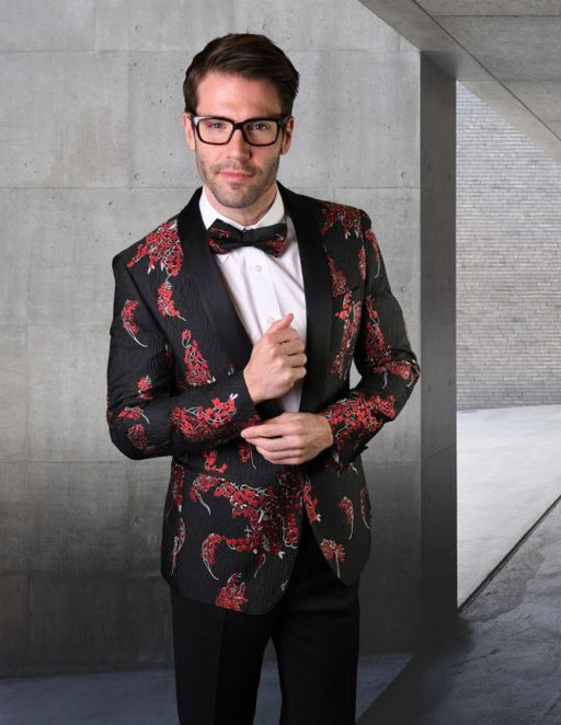 Statement Men's Black & Red Patterned Tuxedo Jacket with Bowtie