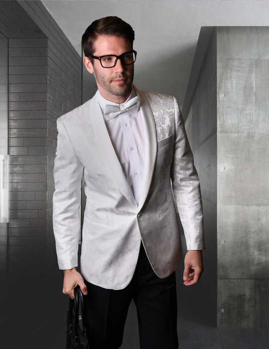 Statement Men's White Patterned Tuxedo Jacket with Bowtie