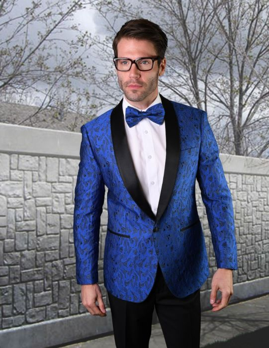 Statement Men's Royal Blue Patterned Tuxedo Jacket with Bowtie