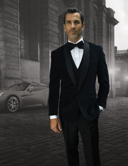 Statement Men's Black Velvet Tuxedo with Black Satin Shawl Lapel