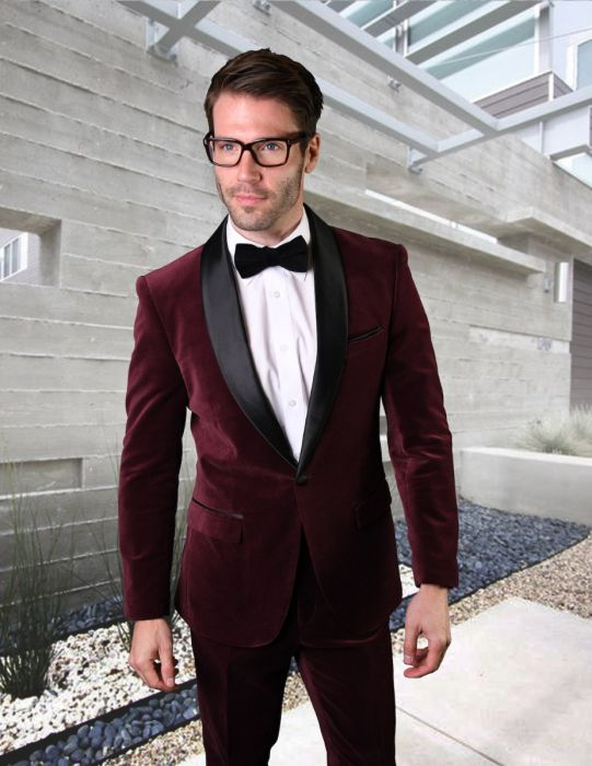 Statement Men's Burgundy Velvet Tuxedo with Black Satin Shawl Lapel