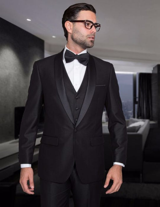 Statement Men's Black Tuxedo with Black Lapel