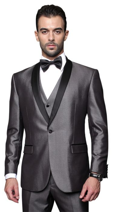 Statement Men's Grey Tuxedo with Black Lapel