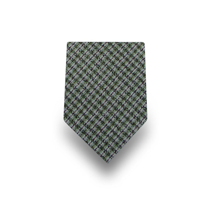 Men's Green with Brown & White Stripes100% Silk Tie