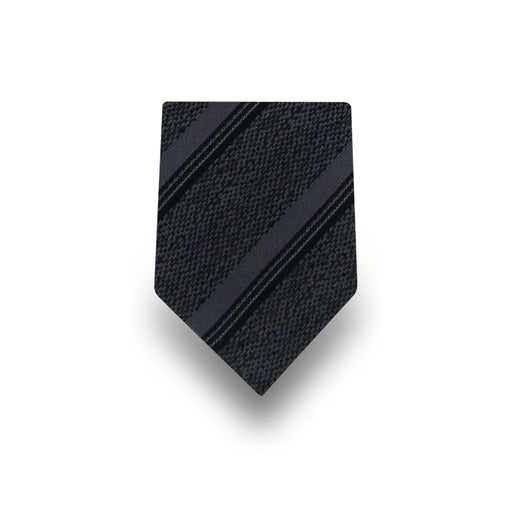 Men's Black Striped Microfiber Tie