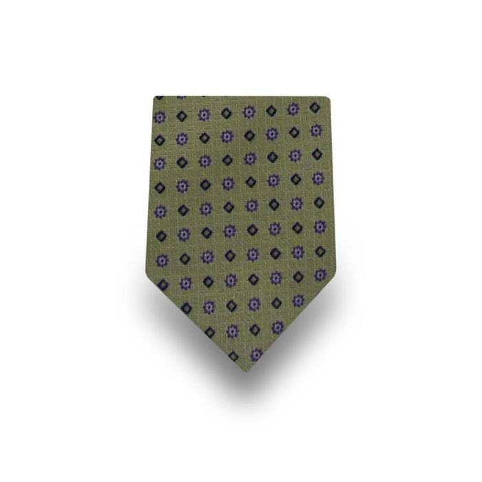 Men's Green & Purple Patterned 100% Silk Tie