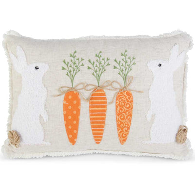 Appliqued Bunnies & Carrots Pillow