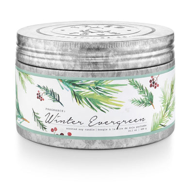Tried & True Winter Evergreen Large Tin Candle