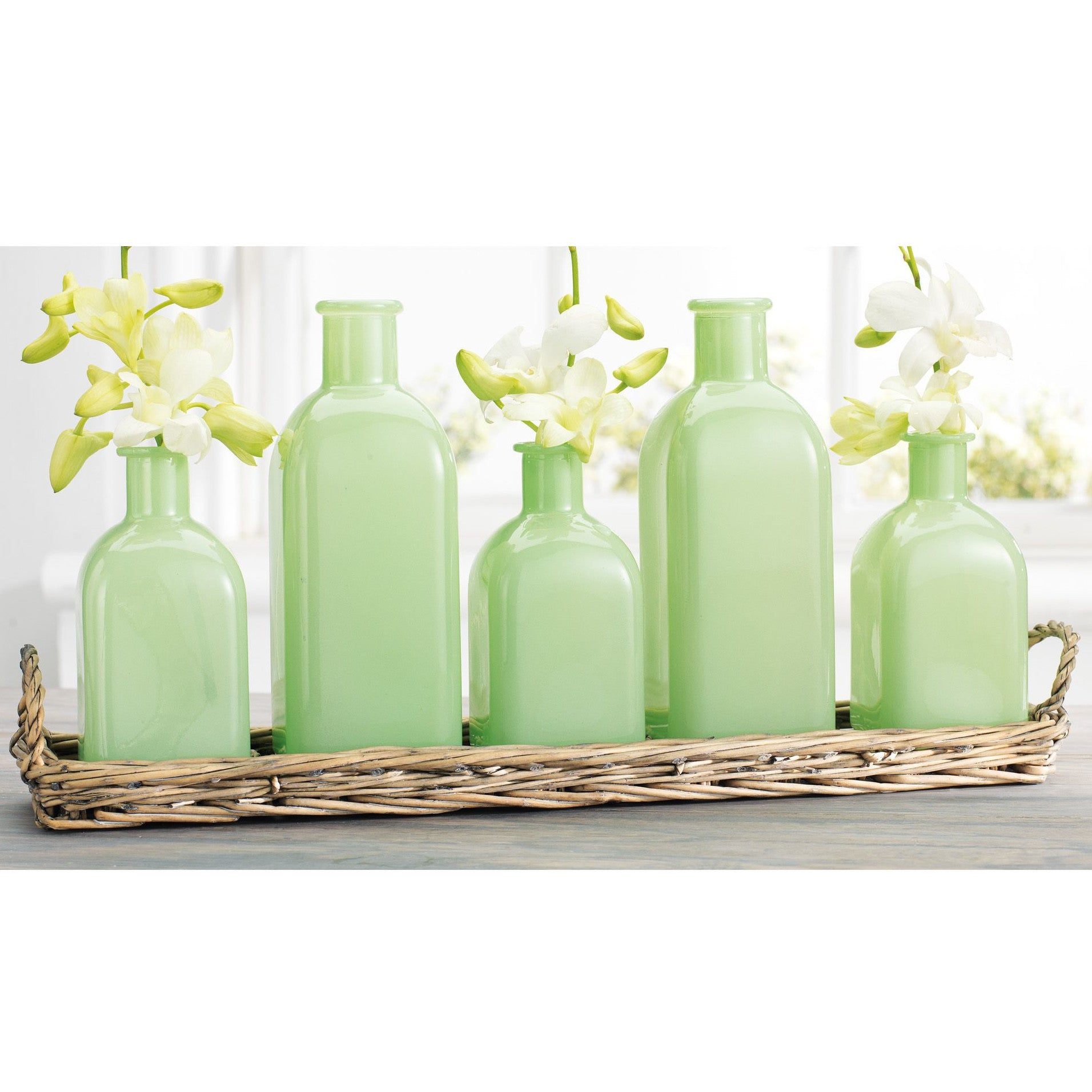 Wicker Basket Tray With Jade Bottles-Decor-A Cottage in the City