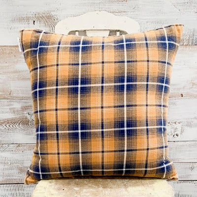 Orange & Navy Tartan Pillow