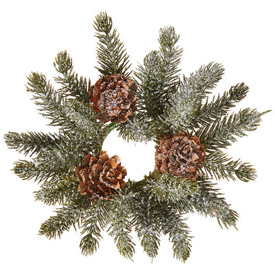 Iced Pine Taper Candle Ring