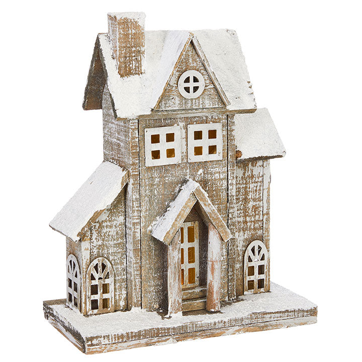 "Snowy Wood Lighted House 13""-Seasonal-Raz-A Cottage in the City"