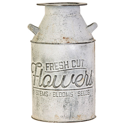 Fresh Cut Flowers Rusty Milk Can