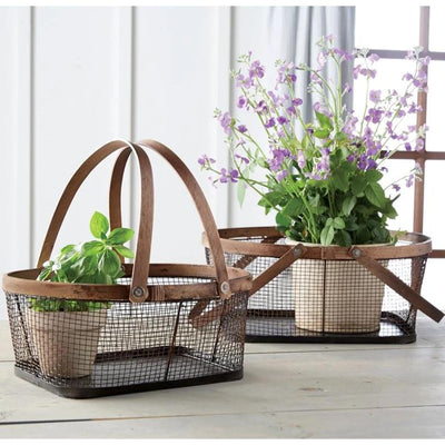 Wire Basket With Hinged Wood Handles