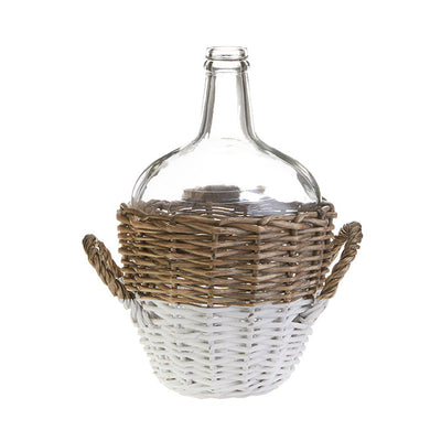 White & Natural Wicker Bottle