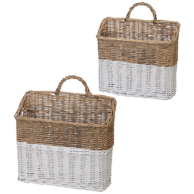 White & Natural Wicker Wall Basket