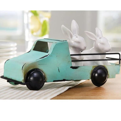 Salt & Pepper Bunnies In Metal Truck