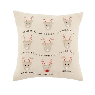 Rudolph & His Reindeer Appliqued Pillow
