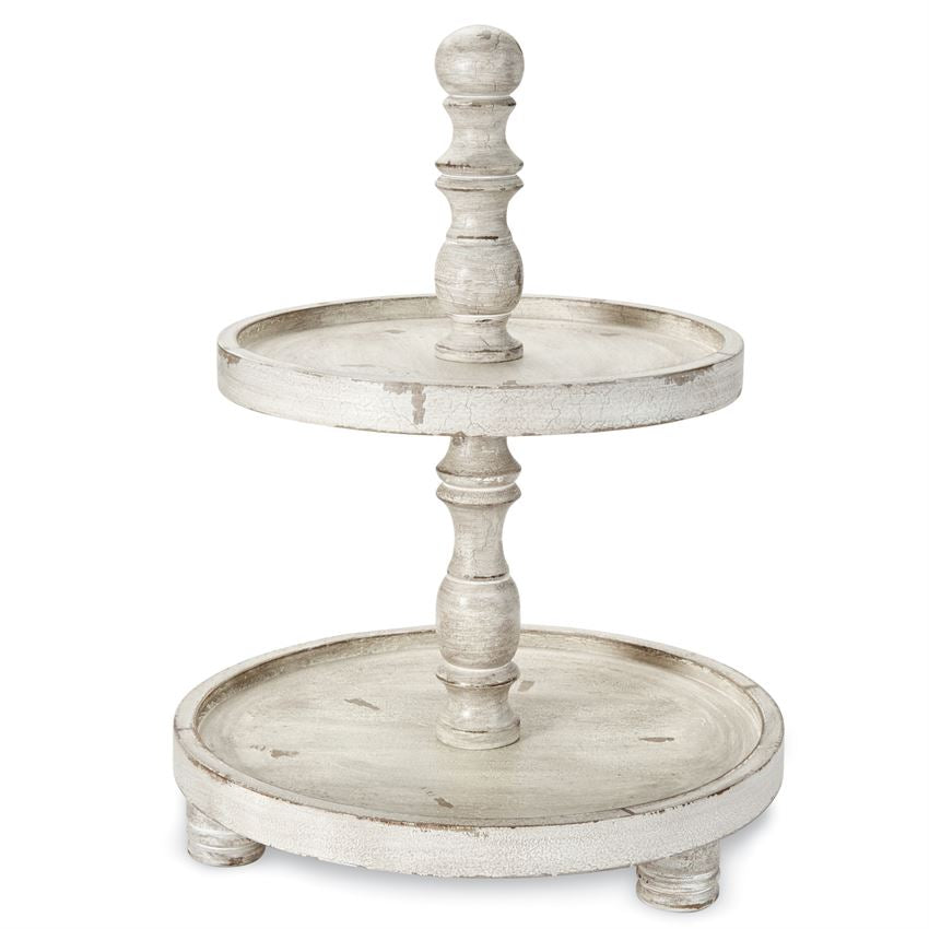 Distressed Ivory Wood Two Tier Stand-Tabletop-A Cottage in the City