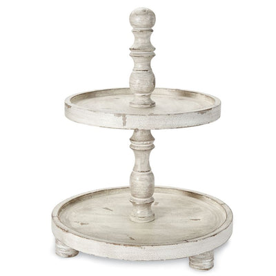 Distressed Ivory Wood Two Tier Stand