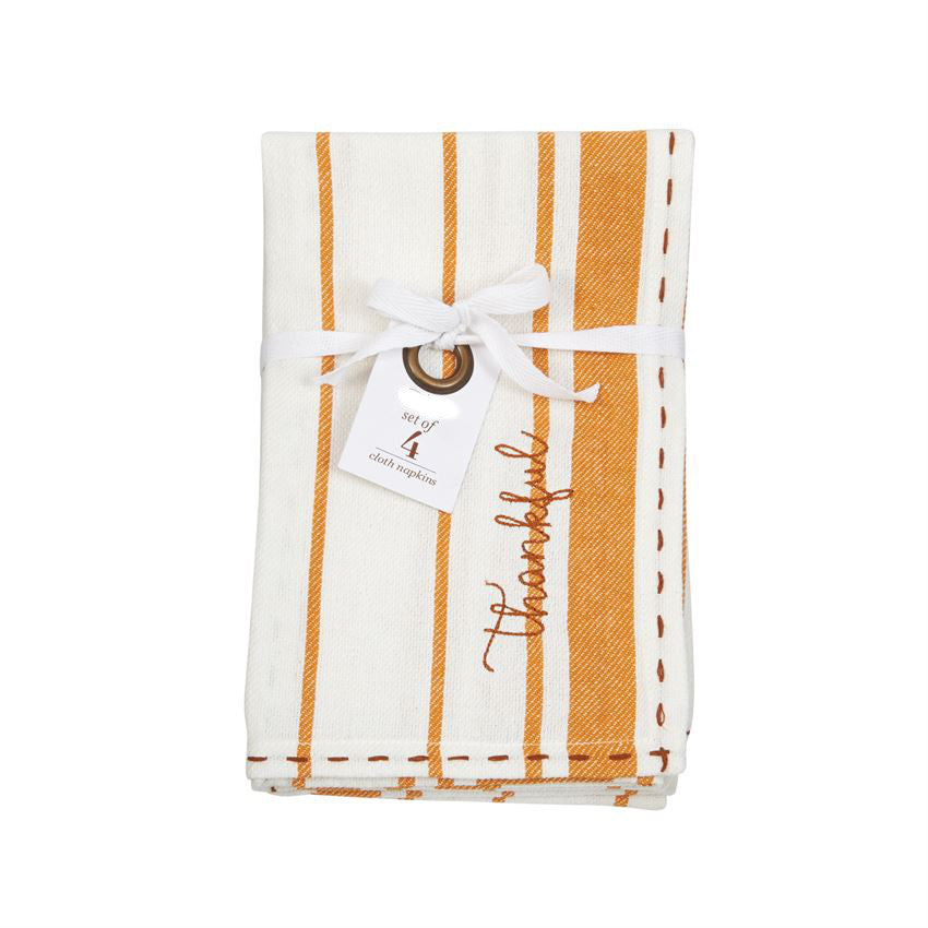 Thankful Stitched Cloth Napkins S/4-Seasonal-A Cottage in the City