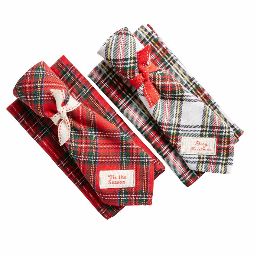 Tartan Tie Napkin Set-Seasonal-A Cottage in the City