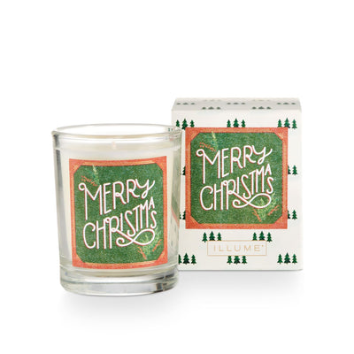 Merry Christmas Boxed Glass Votive