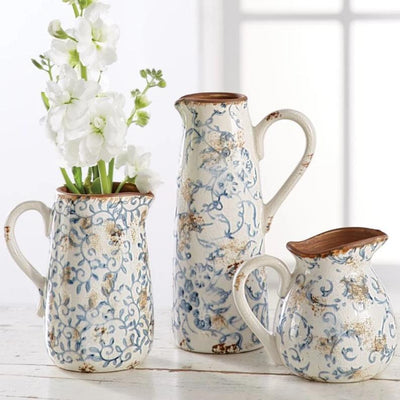 Vintage Floral Stamped Pitcher