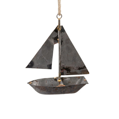 Galvanized Metal Sailboat Ornament