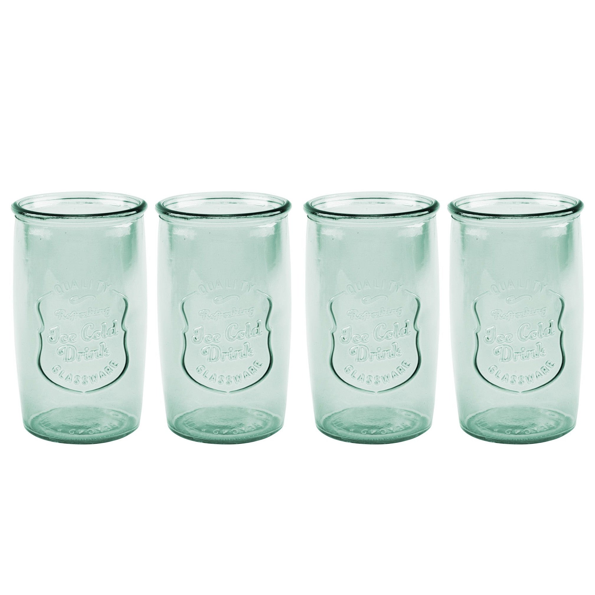 Recycled Green Retro Glasses S/4-Tabletop-A Cottage in the City