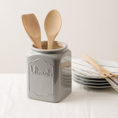 Grey Square Utensils Crock