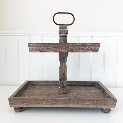 Rectangle Wood Two Tier Tray
