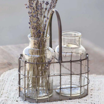 Farmhouse Wire Metal Caddy With Bottles