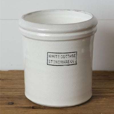 White Cottage Stoneware Crock