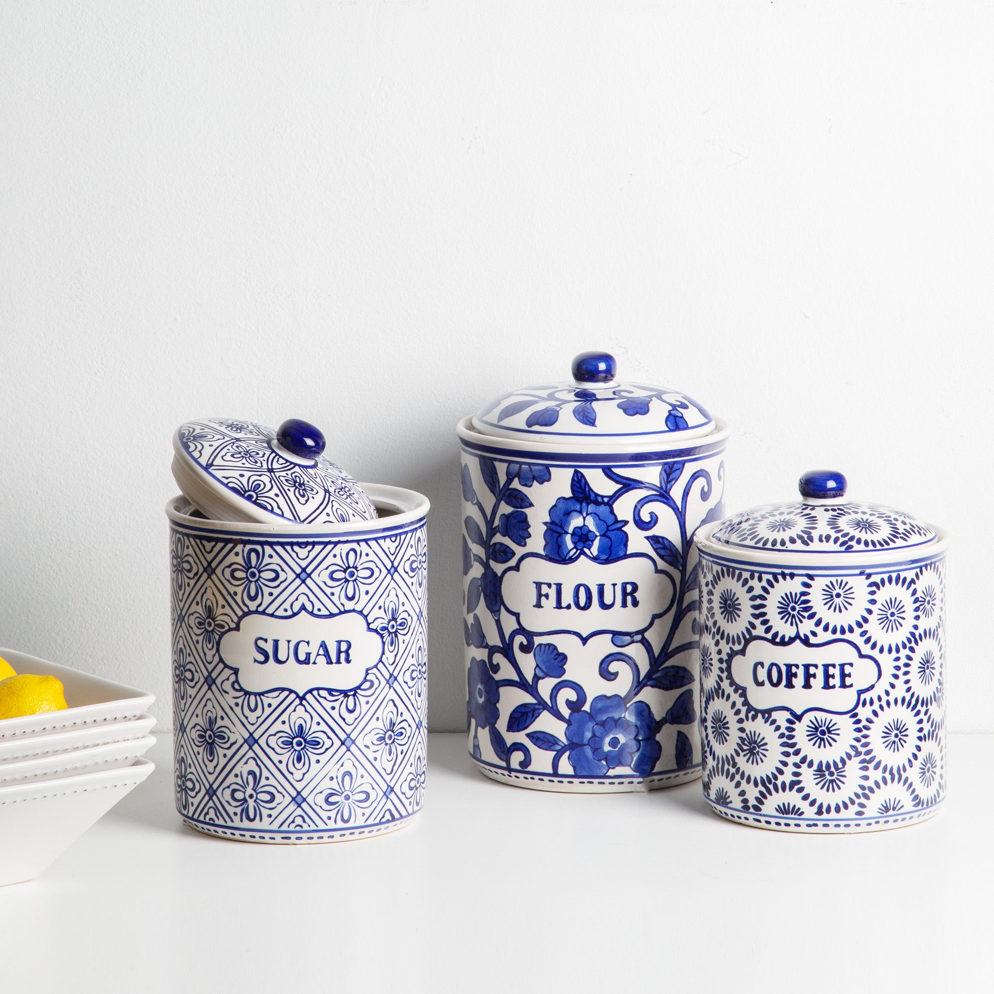 Blue & White Ceramic Kitchen Canister-Tabletop-A Cottage in the City