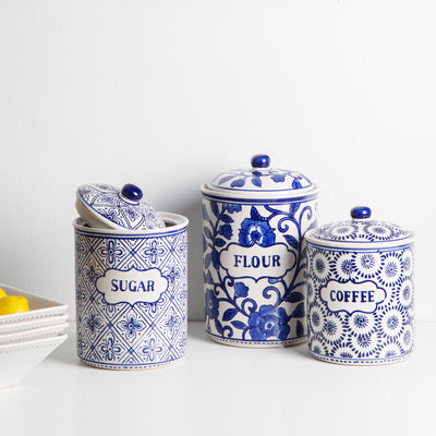 Blue & White Ceramic Kitchen Canister