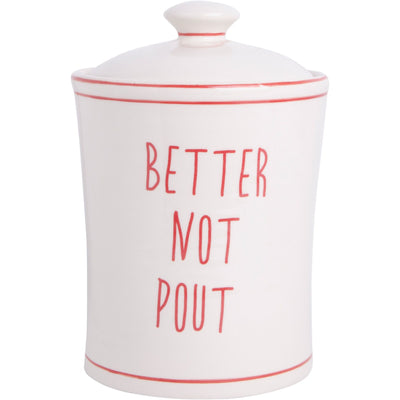 Better Not Pout Red & White Cookies Jar
