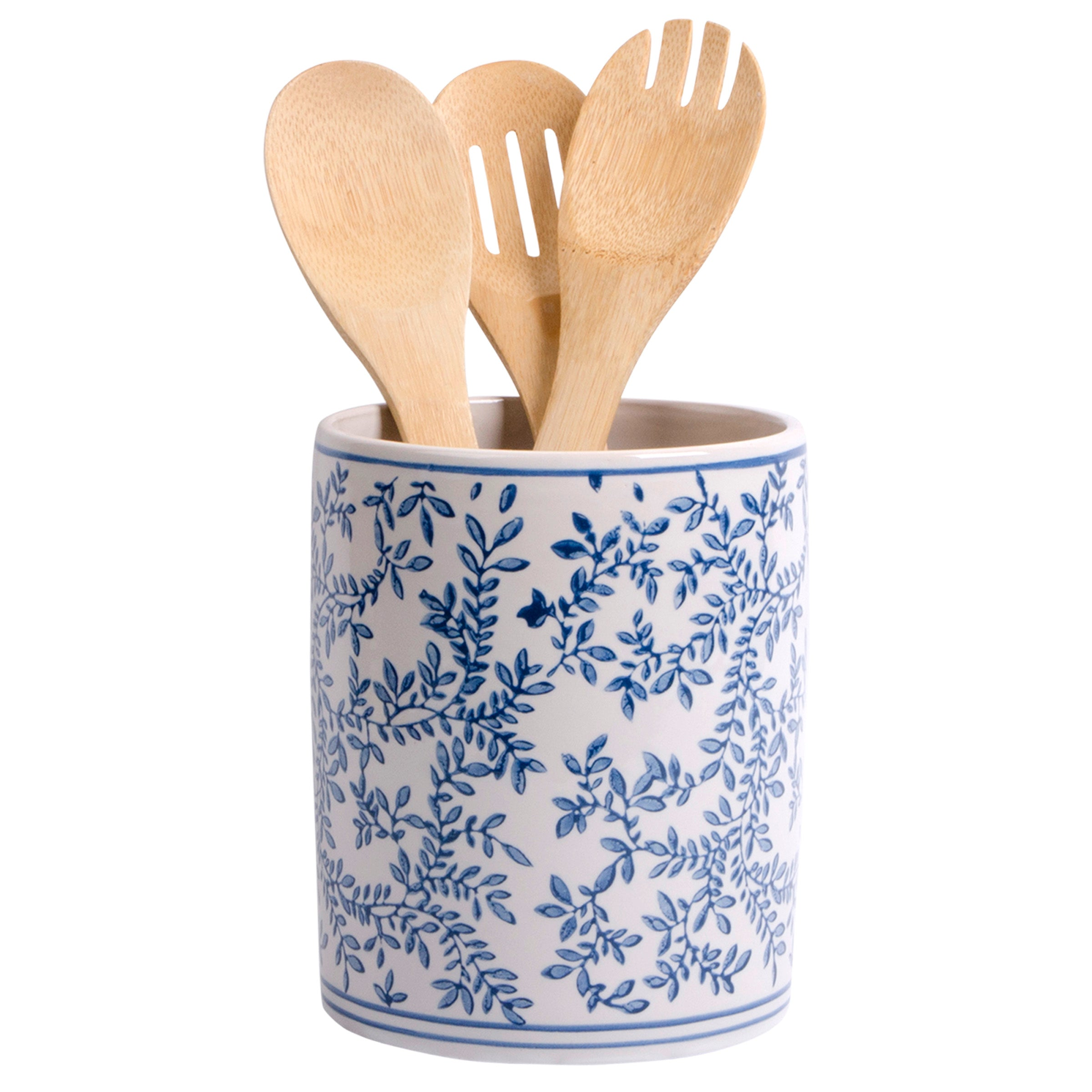 Blue & White Ceramic Utensil Crock-Tabletop-A Cottage in the City