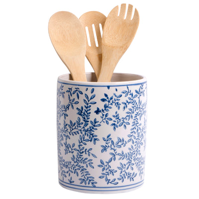 Blue & White Ceramic Utensil Crock