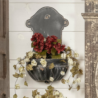 Aged Black Metal Wall Planters Set